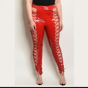 Pants - 🔥LAST 2 LEFT!!🔥 Red Latex Lace Up Corset Pants